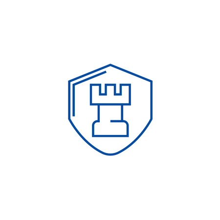 Fortress, castle shield line concept icon. Fortress, castle shield flat  vector website sign, outline symbol, illustration. Illustration