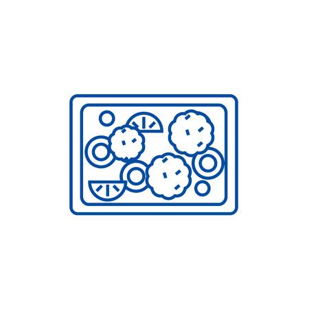 Fried vegetables  line concept icon. Fried vegetables  flat  vector website sign, outline symbol, illustration.