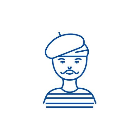 Hombre francés, artista, icono del concepto de línea de mimo. Hombre francés, artista, mimo sitio web vector plano signo, símbolo de contorno, ilustración. Ilustración de vector