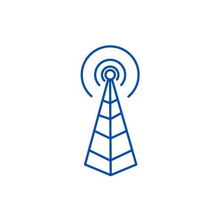 Frequentie antenne, radio toren lijn concept icoon. Frequentie antenne, radiotoren platte vector website teken, overzichtssymbool, afbeelding.