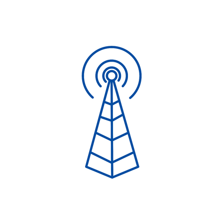 Frequency antenna,radio tower line concept icon. Frequency antenna,radio tower flat  vector website sign, outline symbol, illustration.
