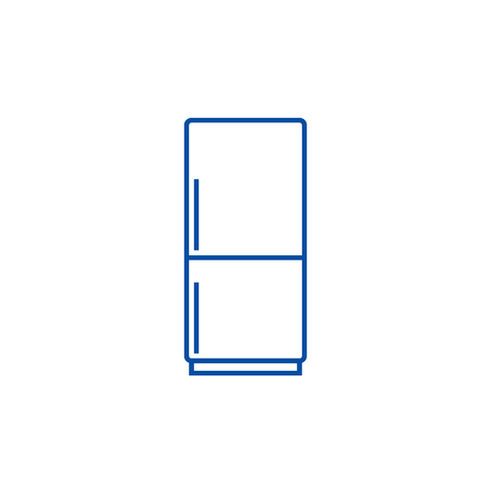 Fridge,refridgirator line concept icon. Fridge,refridgirator flat  vector website sign, outline symbol, illustration. Banque d'images - 119986207