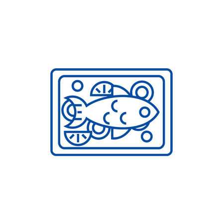 Fried fish line concept icon. Fried fish flat  vector website sign, outline symbol, illustration.