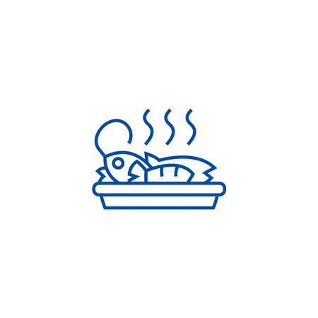 Fried fish, lunch line concept icon. Fried fish, lunch flat  vector website sign, outline symbol, illustration.