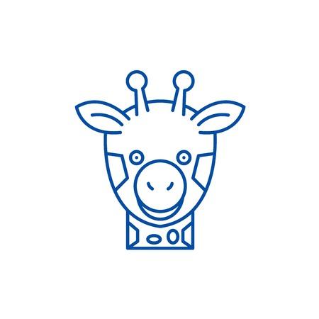 Funny giraffe line concept icon. Funny giraffe flat  vector website sign, outline symbol, illustration. Illustration