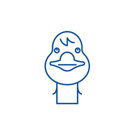 Funny goose line concept icon. Funny goose flat  vector website sign, outline symbol, illustration. Stock Illustratie