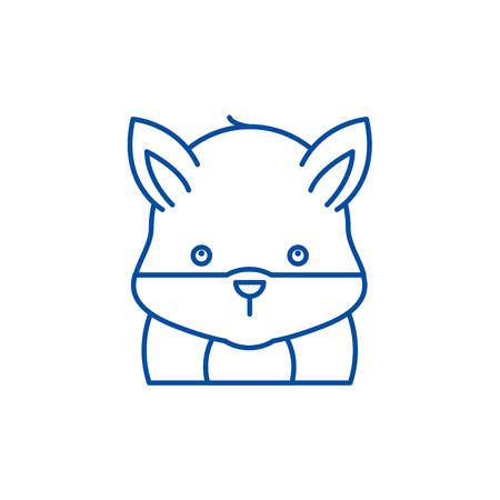 Funny hamster line concept icon. Funny hamster flat  vector website sign, outline symbol, illustration.