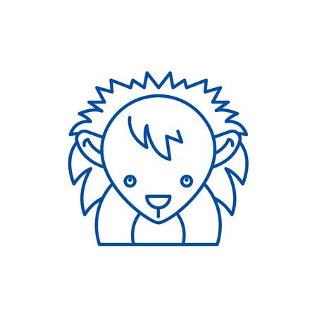 Funny hedgehog line concept icon. Funny hedgehog flat  vector website sign, outline symbol, illustration. Ilustração
