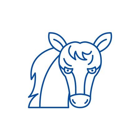 Funny horse line concept icon. Funny horse flat  vector website sign, outline symbol, illustration.