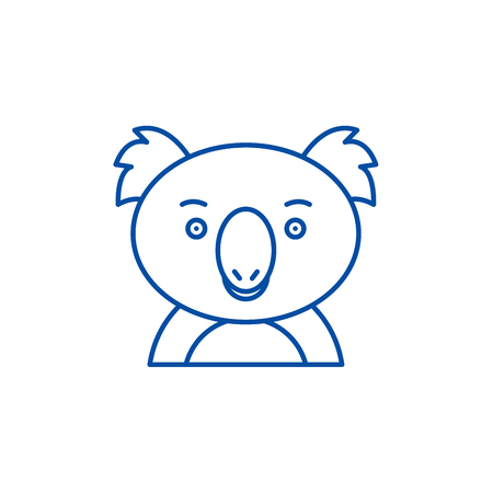 Funny koala line concept icon. Funny koala flat  vector website sign, outline symbol, illustration.