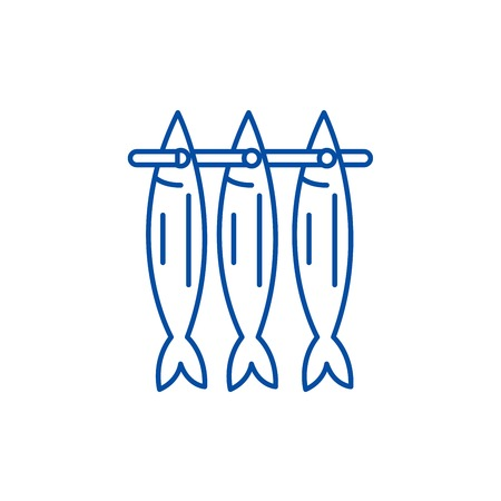 Fish drying line concept icon. Fish drying flat  vector website sign, outline symbol, illustration. Çizim