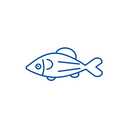 Fish salmon line concept icon. Fish salmon flat  vector website sign, outline symbol, illustration.