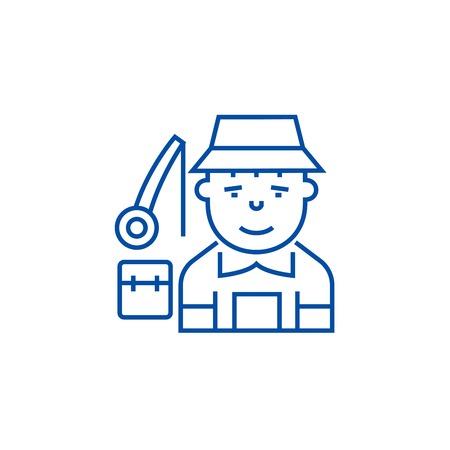 Fisherman line concept icon. Fisherman flat  vector website sign, outline symbol, illustration. Illustration