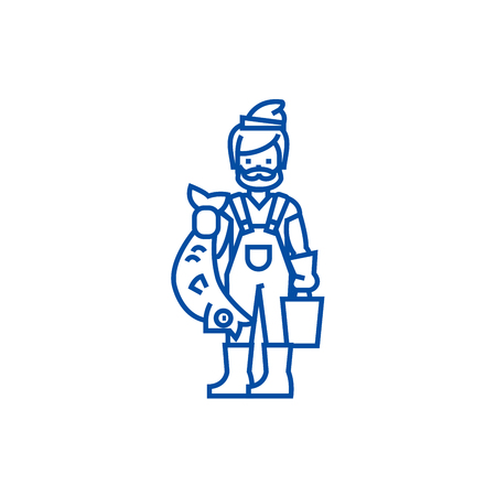 Fisherman with fish line concept icon. Fisherman with fish flat  vector website sign, outline symbol, illustration.