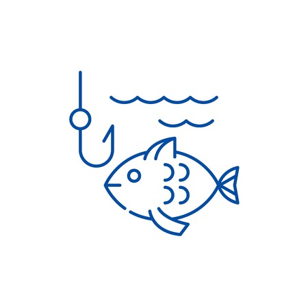 Fishing line concept icon. Fishing flat  vector website sign, outline symbol, illustration.