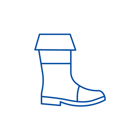 Fishing boots line concept icon. Fishing boots flat  vector website sign, outline symbol, illustration.