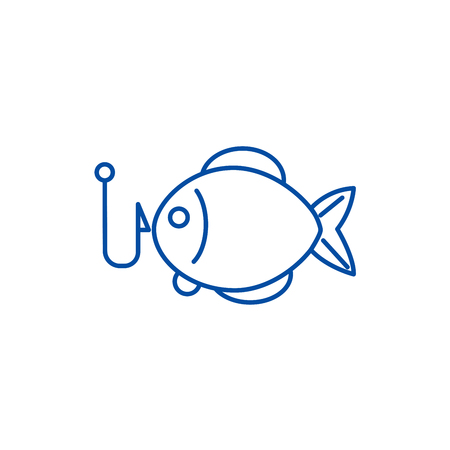 Fishing illustration line concept icon. Fishing illustration flat  vector website sign, outline symbol, illustration. Vettoriali