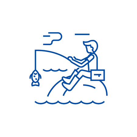 Fishing man with rod line concept icon. Fishing man with rod flat  vector website sign, outline symbol, illustration.