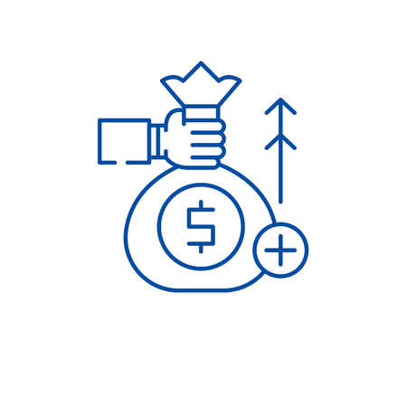 Fundraising line concept icon. Fundraising flat  vector website sign, outline symbol, illustration.
