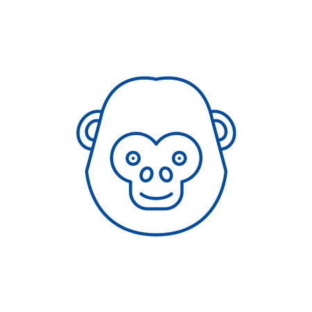 Funny chimpanzee line concept icon. Funny chimpanzee flat  vector website sign, outline symbol, illustration. Banque d'images - 120071694