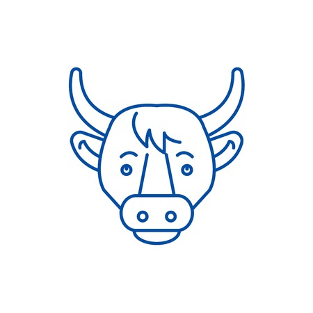 Funny cow line concept icon. Funny cow flat  vector website sign, outline symbol, illustration.
