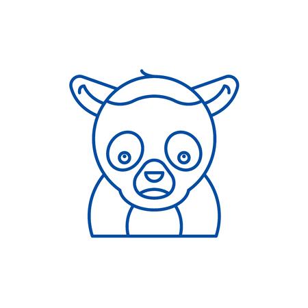 Funny lemur line concept icon. Funny lemur flat  vector website sign, outline symbol, illustration.