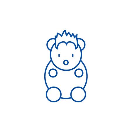 Funny little animal line concept icon. Funny little animal flat vector website sign, outline symbol, illustration.