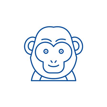 Funny monkey line concept icon. Funny monkey flat  vector website sign, outline symbol, illustration.