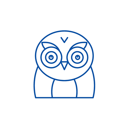 Funny owl line concept icon. Funny owl flat  vector website sign, outline symbol, illustration.