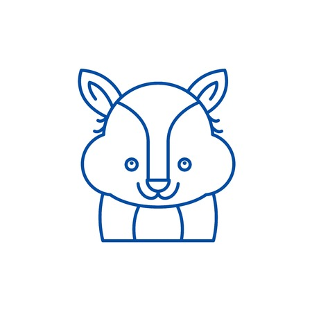 Funny raccoon line concept icon. Funny raccoon flat  vector website sign, outline symbol, illustration.