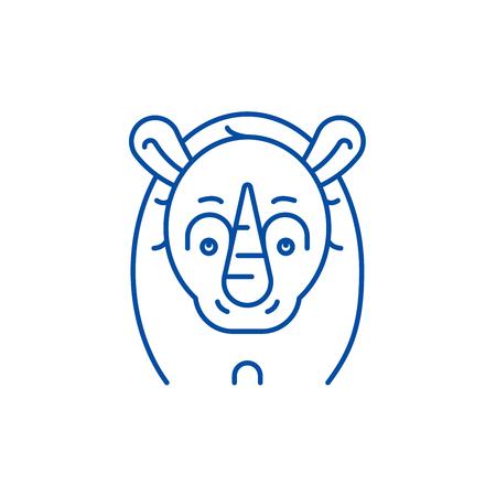 Funny rhino line concept icon. Funny rhino flat  vector website sign, outline symbol, illustration.