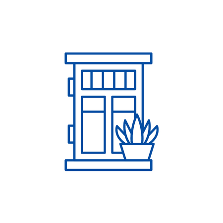 Front door with plant line concept icon. Front door with plant flat  vector website sign, outline symbol, illustration.