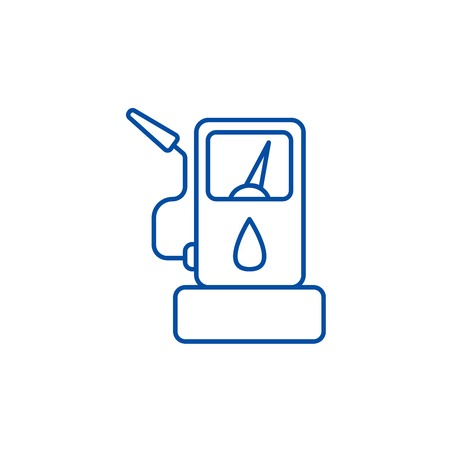 Fuel gas station line concept icon. Fuel gas station flat  vector website sign, outline symbol, illustration.