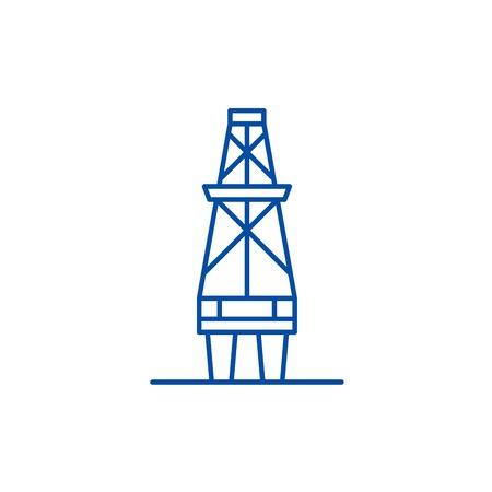 Fuel production line concept icon. Fuel production flat  vector website sign, outline symbol, illustration.