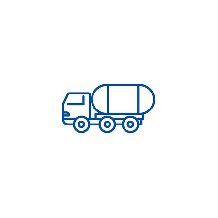 Fuel truck line concept icon. Fuel truck flat  vector website sign, outline symbol, illustration.