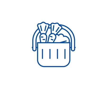 Full grocery supermarket cart line concept icon. Full grocery supermarket cart flat  vector website sign, outline symbol, illustration. Standard-Bild - 119986368