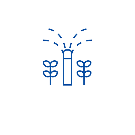 Garden sprinkler line concept icon. Garden sprinkler flat  vector website sign, outline symbol, illustration.
