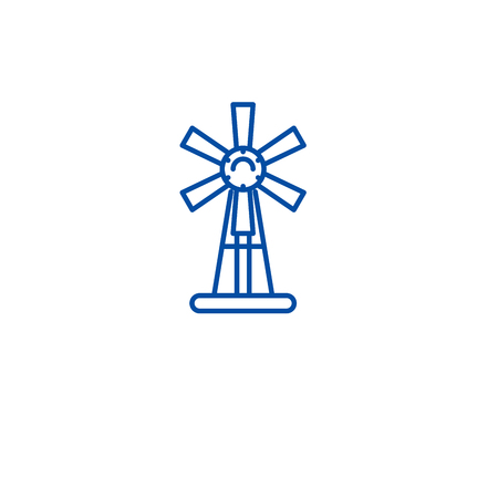 Garden windmill line concept icon. Garden windmill flat  vector website sign, outline symbol, illustration.