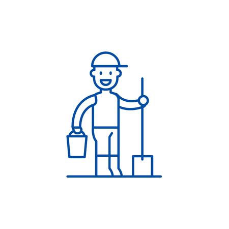 Gardener line concept icon. Gardener flat  vector website sign, outline symbol, illustration.