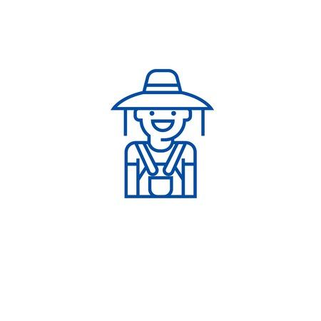 Gardener woman line concept icon. Gardener woman flat  vector website sign, outline symbol, illustration. Illustration