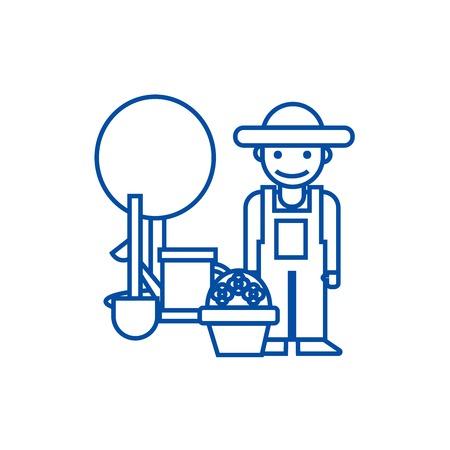 Gardener,tree,shovel,watering can,bush line concept icon. Gardener,tree,shovel,watering can,bush flat  vector website sign, outline symbol, illustration.