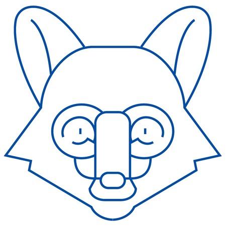 Fox head line concept icon. Fox head flat vector website sign, outline symbol, illustration.