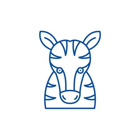 Funny zebra line concept icon. Funny zebra flat  vector website sign, outline symbol, illustration.