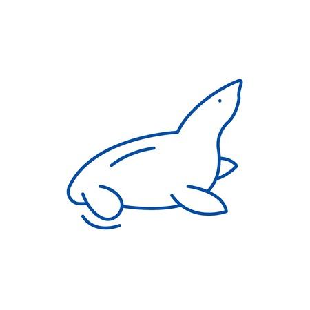 Fur seal line concept icon. Fur seal flat  vector website sign, outline symbol, illustration.