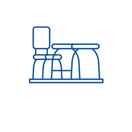 Furniture desk line concept icon. Furniture desk flat  vector website sign, outline symbol, illustration.