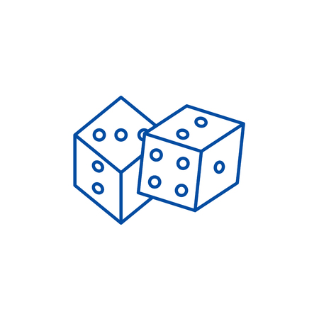 Game of dice line concept icon. Game of dice flat  vector website sign, outline symbol, illustration.