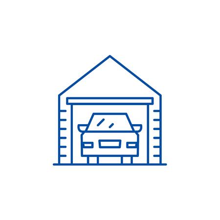 Garage line concept icon. Garage flat  vector website sign, outline symbol, illustration. 일러스트