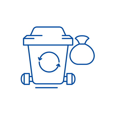 Garbage line concept icon. Garbage flat  vector website sign, outline symbol, illustration.