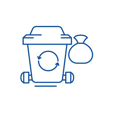 Garbage line concept icon. Garbage flat  vector website sign, outline symbol, illustration.