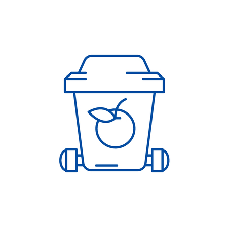 Garbage recycling line concept icon. Garbage recycling flat  vector website sign, outline symbol, illustration. Illustration